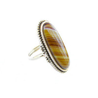 Vintage Faux Tiger Eye Ring set in gold tone, Size 5 FREE SHIPPING - Bague en Strass. Vintage Wedding by My Chouchou.
