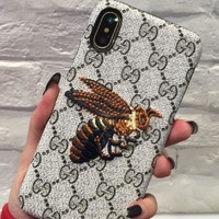 GUCCI embroidery overbearing tiger head bee the iphone7 cool leather Iphone 7plus mobile phone shell 8X.