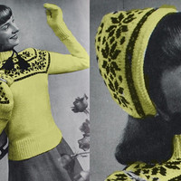 Vintage cardigan WINTER sweater knitted hat mittens gloves pattern PDF Instant Download womans sweater supplies epsteam knitting pattern