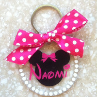 Mouse/Disney Inspired Acrylic Keychain.  Name or Circle Monogram.