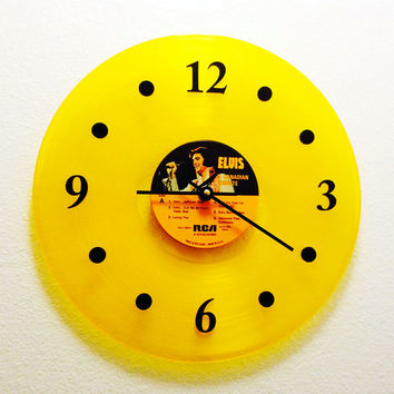 Clock, Vinyl Record Clock, Wall Clock, Elvis Yellow Record, Recycled Music Record, Upcycle, Battery & Wall Hanger included, Item #1