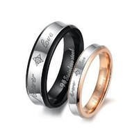 Fashion Black Plated Unisex Men's Stainless Steel Forever Love Ring