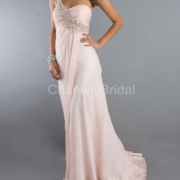 A-line One-shoulder Chapel Train Chiffon 2013 Style Prom Dresses