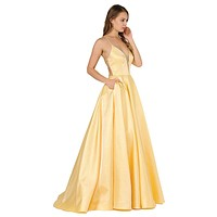Strappy Back Long Prom Dress with Pockets Yellow