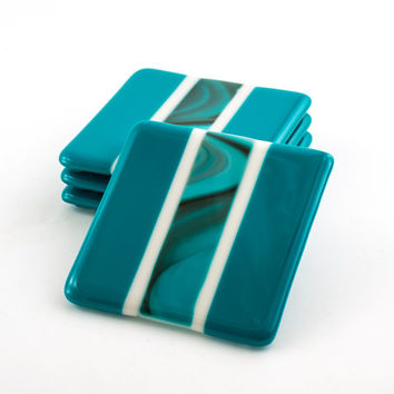 Fused Glass Coasters, Set of 4, Teal Home Decor, Coffee Table Decorations, Bar Accessories, Drink Coasters, Unique Hostess Gifts