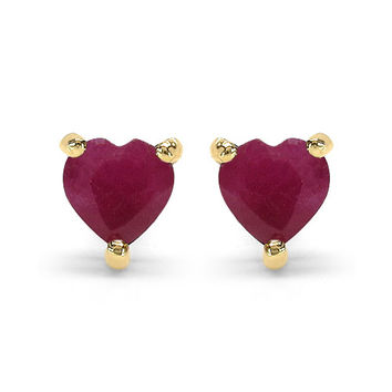 10K Yellow Gold .70 Carat Genuine Heart Cut Red Ruby Stud Earrings