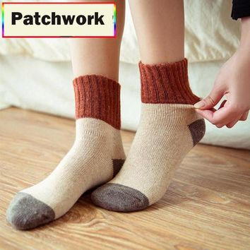 Retro Thickening Women Socks Autumn Winter Rabbit Wool Patchwork Socks Female New Japanese 5 Colors Tube Sock Students Hosiery