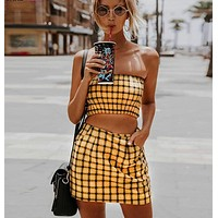 Plaid Tube Top Skirt Two Piece Set