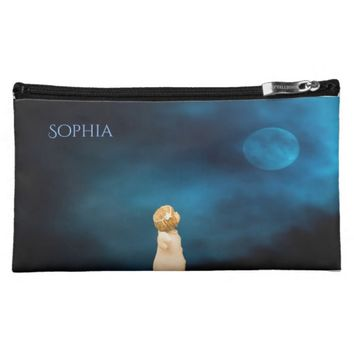 Girly angel at night watching a full moon add name makeup bag
