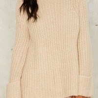 Apricot Plain High Neck Long Sleeve Oversized Casual Pullover Sweater