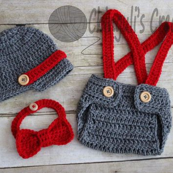 Little Man Outfit. Baby Crochet Newsboy Hat, Diaper Cover Suspenders, and Bow Tie Set. Wooden Buttons