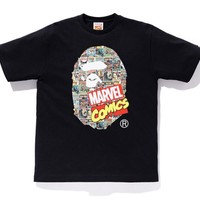BAPE Marvel co-branded cartoon cover simple casual cotton short-sleeved T-shirt Black