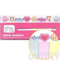 Colorful Lollipop Gumballs Candy Hearts and Sweets Food Themed Memo Post-it Index Bookmark Tabs