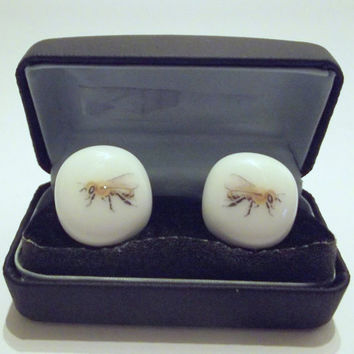 Bee Glass Cufflinks Sterling Silver by SimonAldersonGlass on Etsy
