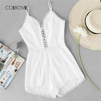 Women's Asymmetric Crochet Hem Summer Romper.   Available in Small, Medium and Large.   ***FREE SHIPPING***