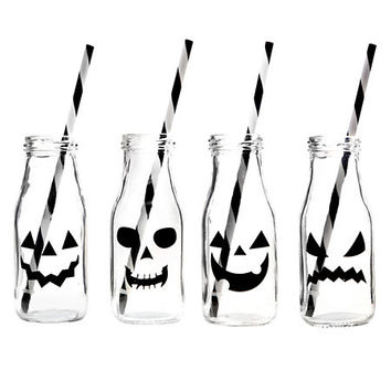 Jack O' Lantern Milk Bottle Glasses, Set of 4