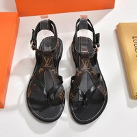 Louis Vuitton LV Fashion Women Flat Leather Buckle Sandals Shoes High Boots I-ALS-XZ