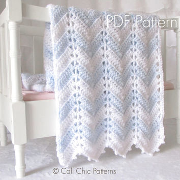 Crochet Baby Blanket PATTERN 55 - Chevron Series - Crochet Symbol PATTERN 55 - Instant Download PDF Pattern