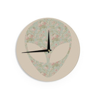 "Alias ""Floral Alien"" Pink Teal Wall Clock"
