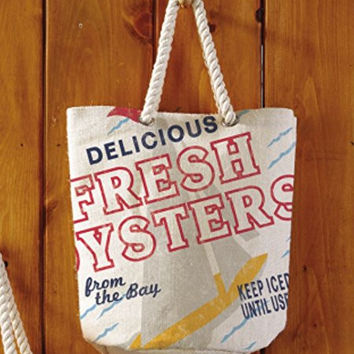 Seafood Shack - Large Beach Town Jute Tote Bag (Fresh Bay Oysters)