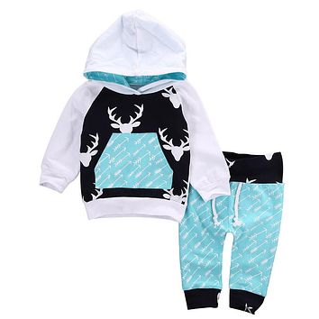 Newborn Autumn Baby Boys Girls Clothes Set Hoodie Tops T-Shirt+Cotton Pants Suit 2PCS Infant Clothing Deer Arrow Print