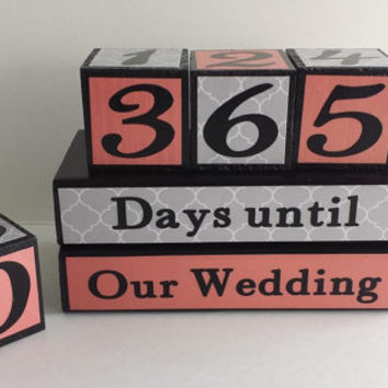 Wedding Countdown Wood Blocks/Days Until Our Wedding - Coral/Peach and Gray