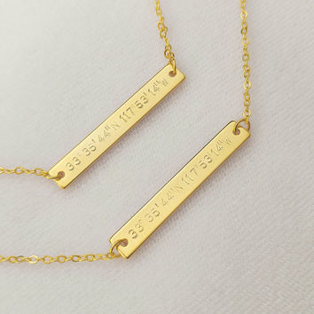 Custom Gold Silver Coordinates Necklace, Location GPS Coordinates, Latitude Longitude, Wedding Gift, Anniversary Gift