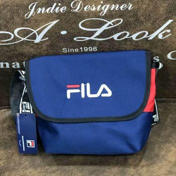 FILA fashion new single shoulder bag oblique straddle bag women and men wallet small waist bag Blue