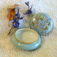 Limoges Blue Floral Trinket Dish Antique 1900 - 1909 Porcelain Hand Painted T & V Limoges France Jewelry Powder Ring Box Blue Flowers Gold