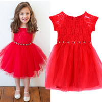 Kid Girls One Piece Party Holiday Dress Red Lace Tulle Gauze Tutu Dress 2-6 Years FD28