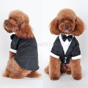 Cute Pet Dog Cat Clothing Prince Wedding Suit Tuxedo Bow Tie Puppy Clothes Coat