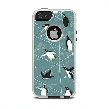The Vintage Penguin Blue Collage Apple iPhone 5-5s Otterbox Commuter Case Skin Set