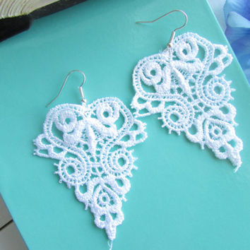Victorian Lace Earrings - Millicent in White - Bridal Earrings