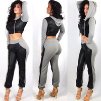 Color Block PU Spliced Cropped Hoodie and Pants Set