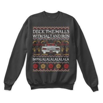 AUGUAU Deck The Halls With Salt And Iron Impala Supernatural Ugly Sweater