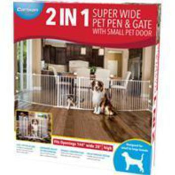 Carlson Pet Products - 2 In 1 Super Wide Pen & Gate W/door Brackets