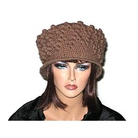 Handmade Crocheted Diamond Patterned Hat, Taupe