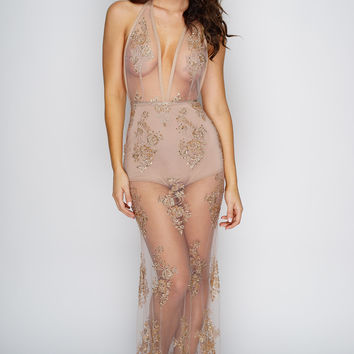 Belle Beaded Maxi Dress - Nude