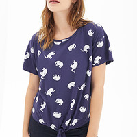 FOREVER 21 Knotted Elephant Print Tee Navy/Grey