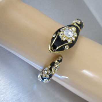 Vintage Kenneth Jay Lane Bracelet, KJL Snake Bangle, Black Enamel Rhinestone Snake Bracelet. Kenneth Jay Lane Jewelry