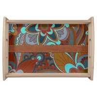 Teal and Brown, Boho Serving Tray