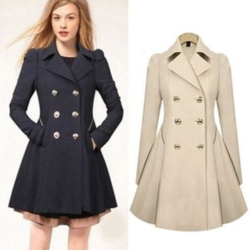 USA Women's Long Parka Coat Lapel Neck Outwear Winter/Autumn Trench Jacket Coats