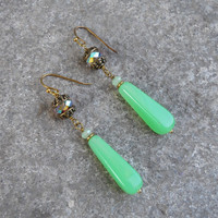 Boho chic Jade vintage glass and crystal