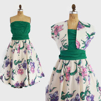 50s Pat Premo 3pc STRAPLESS DRESS / 1950s Floral Print Sun Dress with Belt & Bolero S