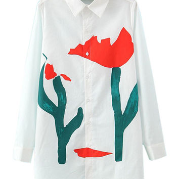 White Pointed Flat Collar Tulip Print Long Sleeve Blouse
