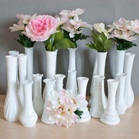Instant Collection 20 Milk Glass Vases for Weddings and Baby Showers Cottage Chic Vintage Wedding Classic White