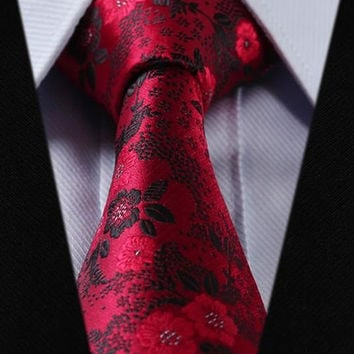 Bright Red Paisley Tie with Black Accent Design