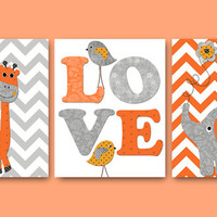 Elephant Nursery Giraffe Nursery Baby Nursery Decor Baby Boy Nursery Kids wall art Kids Art Nursery Print set of 8x10 birds gray orange