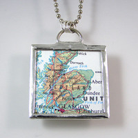 Outlander and Scotland Map Pendant Necklace