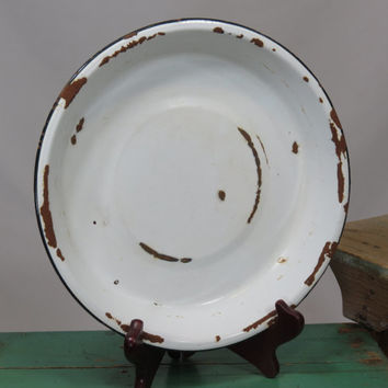 Old Enamelware Pie Plate White With Black Rim Chippy Rusty Wonderfulness